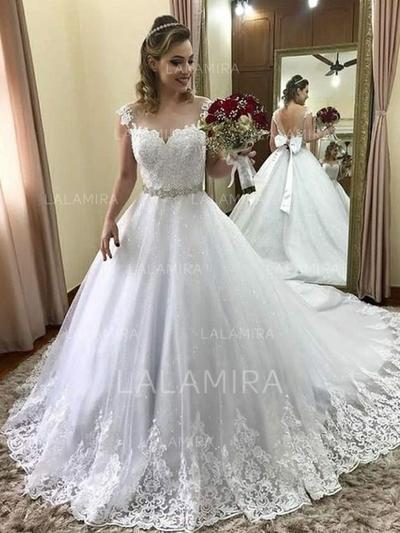 Precioso Tul Vestidos de novia con Tirantes Cuentas Los appliques Encaje Lazo(s) (002218066)