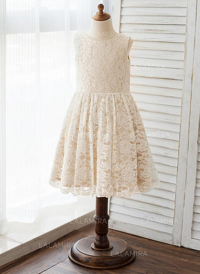 A-Line/Princess Scoop Neck Knee-length With Lace Lace Flower Girl Dresses (010212097)