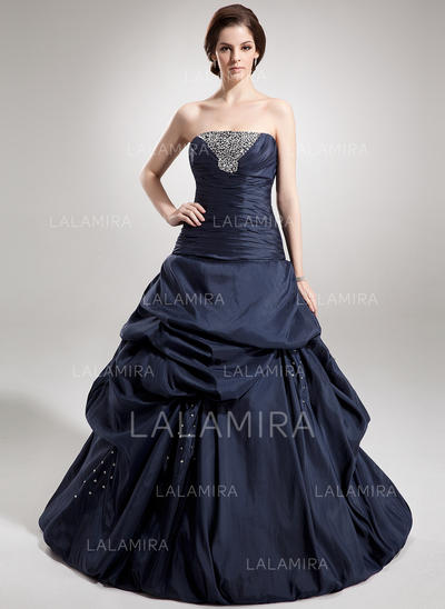 Floor-Length Taffeta Prom Dresses With Ball-Gown Strapless (018135549)