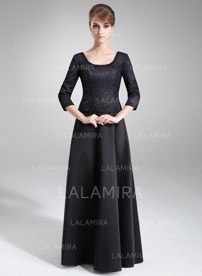 Novísimo Hasta el suelo Corte A/Princesa Satén Encaje Vestidos de madrina (008211036)