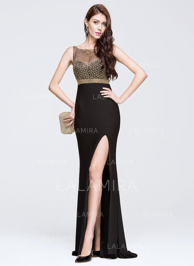 Trumpet/Mermaid Scoop Neck Sweep Train Prom Dresses With Beading Split Front (018081801)
