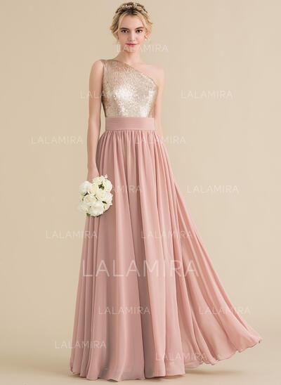 Vestidos princesa/ Formato A Um ombro Longos Tecido de seda Lantejoulas Vestido de baile (018157163)