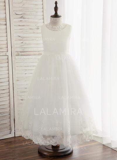 Forme Princesse Longueur cheville Robes à Fleurs pour Filles - Tulle/Dentelle Sans manches Col rond avec Trou noir (010148799)