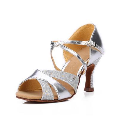 Women's Latin Sandals Leatherette Sparkling Glitter Dance Shoes (053183184)
