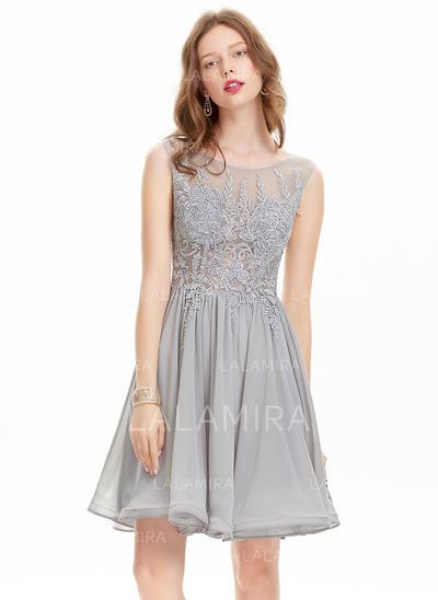 Forme Princesse Longueur genou Mousseline Robes de soirée étudiante (022214171)