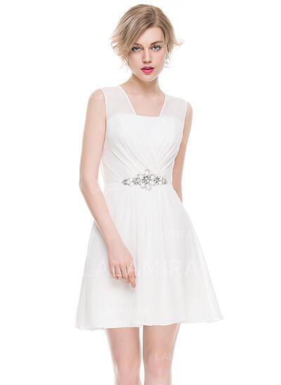Vestidos princesa/ Formato A Decote V Curto/Mini Tecido de seda Vestido de cocktail com Pregueado Beading lantejoulas (016083914)