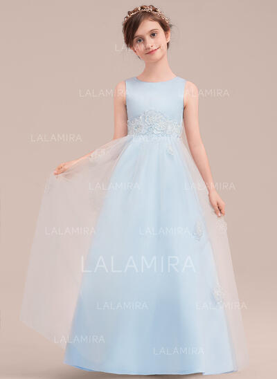A-Line/Princess Floor-length Flower Girl Dress - Satin/Tulle Sleeveless Scoop Neck With Beading/Appliques (010143274)