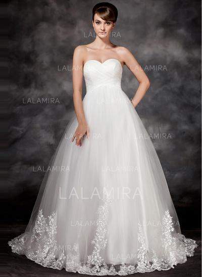 Tul Corte imperial Lujoso Los appliques Encaje Vestidos de novia (002017117)