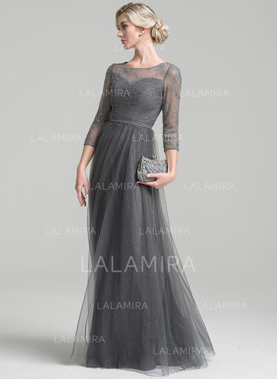 A-Line/Princess Scoop Neck Floor-Length Tulle Evening Dress With Beading Sequins (017096351)