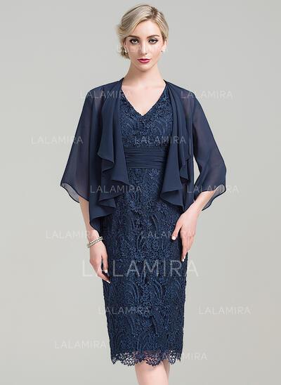 Tubo Decote V Coquetel Renda Vestido para a mãe da noiva com Pregueado (008085297)