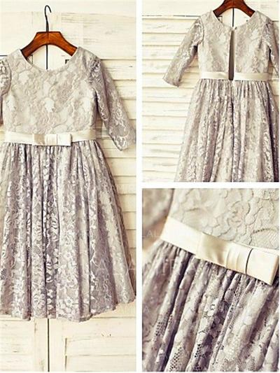 Scoop Neck A-Line/Princess Flower Girl Dresses Lace Sash/Pleated 3/4 Sleeves Tea-length (010211980)