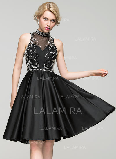 A-Line/Princess High Neck Knee-Length Satin Homecoming Dresses With Beading Sequins (022214070)
