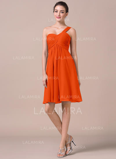 Empire Chiffon Bridesmaid Dresses Ruffle One-Shoulder Sleeveless Knee-Length (007198956)