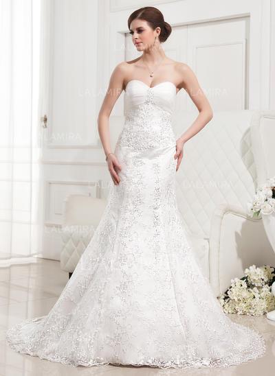 Ruffle Beading Sleeveless Sweetheart Lace Trumpet/Mermaid Wedding Dresses (002210417)