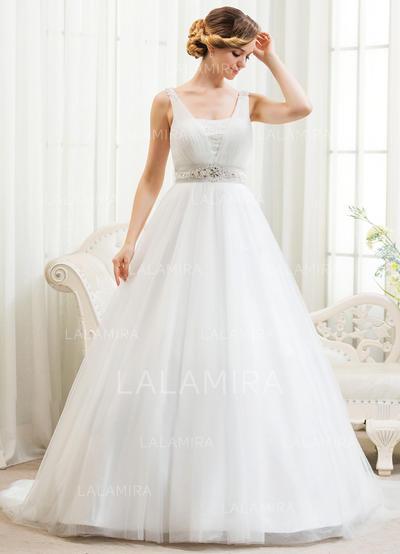 Tul Corte de baile Princesa Cuentas Los appliques Encaje Lentejuelas Vestidos de novia (002054361)