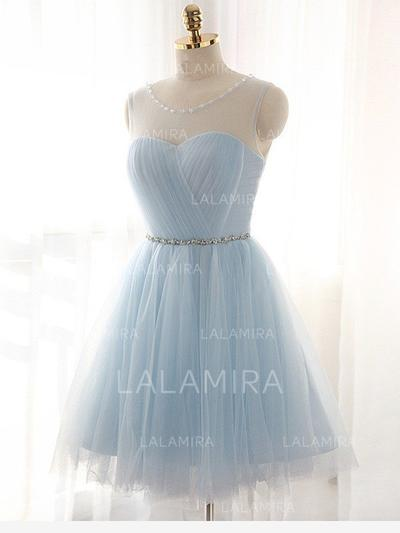 Knee-Length A-Line/Princess Tulle Sleeveless Homecoming Dresses (022212385)