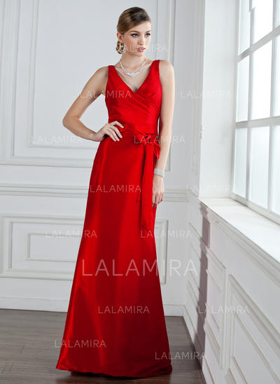 Trumpet/Mermaid Taffeta Bridesmaid Dresses Ruffle Bow(s) V-neck Sleeveless Floor-Length (007004161)