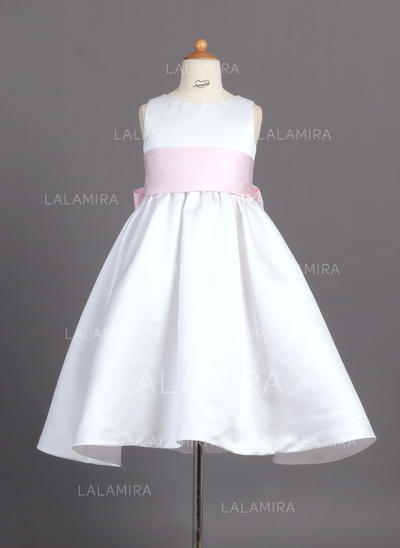 Ball Gown Ankle-length Satin - Simple Flower Girl Dresses (010007314)