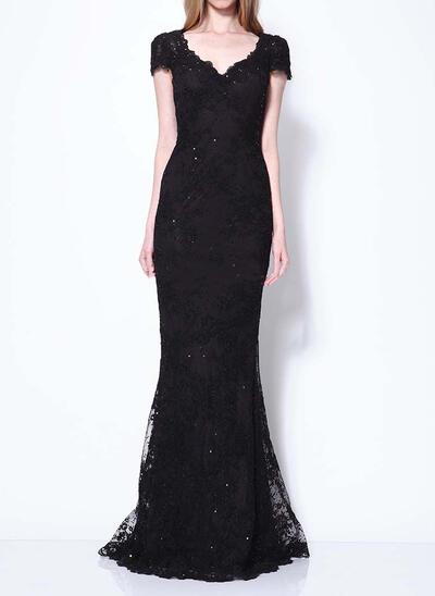 Floor-Length Sequins Evening Dresses Short Sleeves