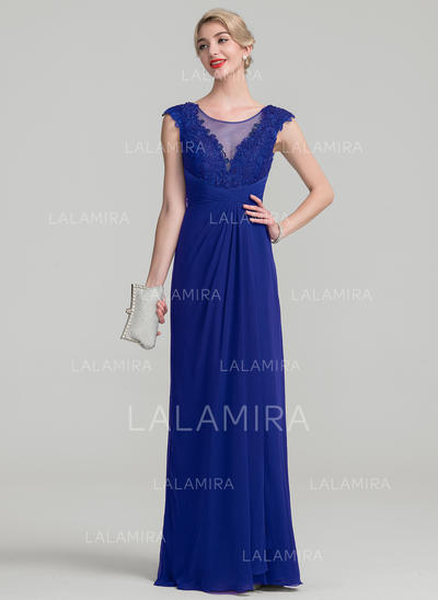 662d25597bb A-Line Princess Chiffon Lace Sleeveless Scoop Neck Floor-Length Zipper Up  Mother
