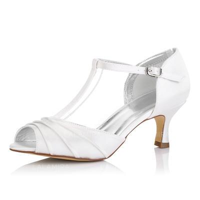 Femmes À bout ouvert Sandales Chaussures qu'on peut teindre Talon bobine Satiné Oui Chaussures de mariage (047092830)