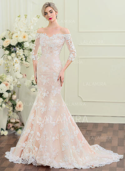 Trumpet/Mermaid Off-the-Shoulder Court Train Lace Wedding Dress (002110619)