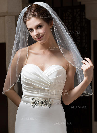 Elbow Bridal Veils Tulle One-tier Classic/Mantilla With Pencil Edge Wedding Veils (006151077)