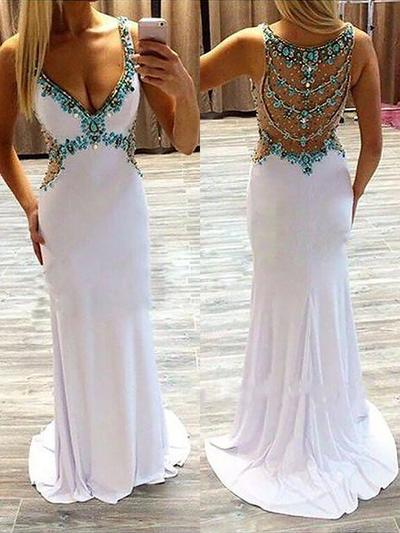 A-Line/Princess V-neck Sweep Train Prom Dresses With Beading Sequins (018148447)