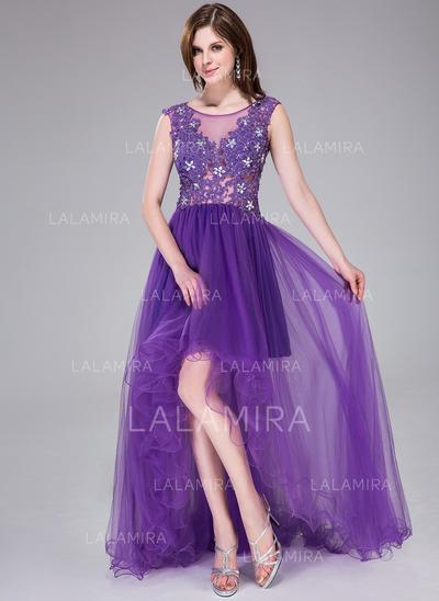 Asymmetrical Tulle A-Line/Princess Scoop Neck Prom Dresses (018041121)