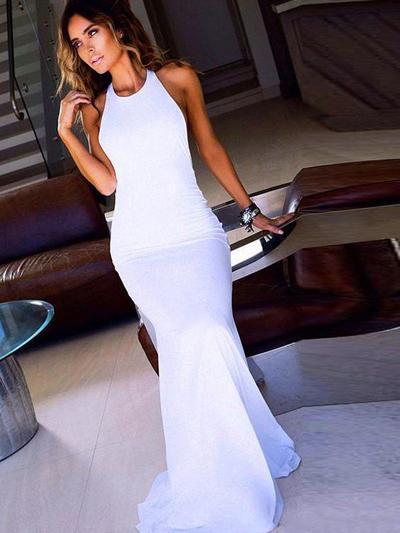 Chiffon Scoop Neck Sheath/Column Flattering Prom Dresses (018210315)