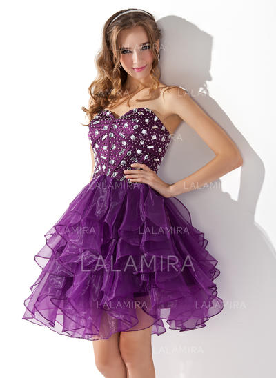 A-Line/Princess Elegant Organza General Plus Cocktail Dresses (016013753)
