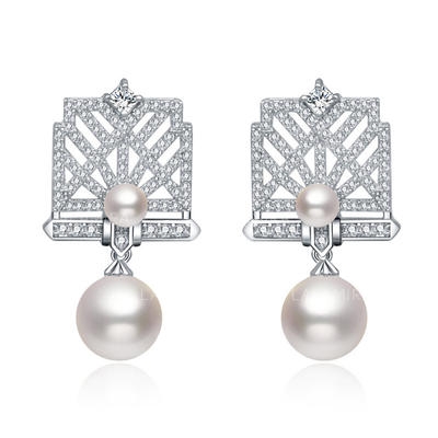 Earrings Copper/Zircon/Imitation Pearls/S925 Sliver Pierced Ladies' Romantic Wedding & Party Jewelry (011167547)