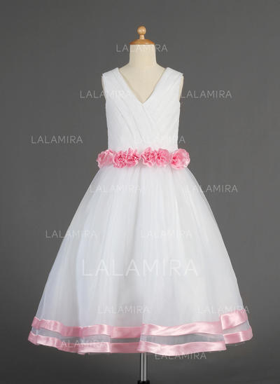Simple V-neck A-Line/Princess Flower Girl Dresses Tea-length Organza/Satin Sleeveless (010014617)