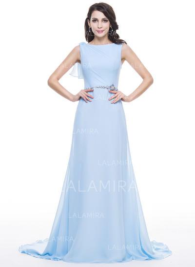Flattering Chiffon A-Line/Princess Zipper Up at Side Evening Dresses (017056631)