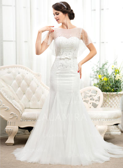 Scoop Trumpet/Mermaid Wedding Dresses Tulle Lace Beading Sequins Bow(s) Short Sleeves Court Train (002055917)
