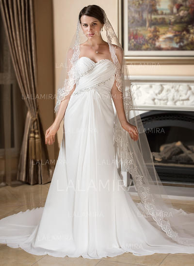 A-Line/Princess Sweetheart Watteau Train Wedding Dresses With Ruffle Lace Beading (002196849)