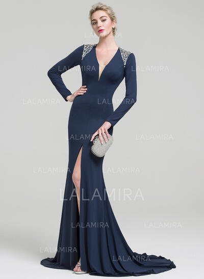Trumpet/Mermaid V-neck Sweep Train Jersey Evening Dress With Beading Sequins Split Front (017093475)