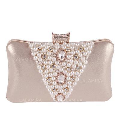 Luminoso Satén/Cristal / Diamante/Aleación Bolso Claqué/Bolso de Mano (012092328)