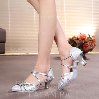 Women's Ballroom Heels Pumps Sparkling Glitter With Ankle Strap Dance Shoes (053179652)