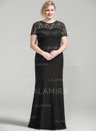 Trumpet/Mermaid Lace Short Sleeves Scoop Neck Floor-Length Zipper Up Mother of the Bride Dresses (008077024)