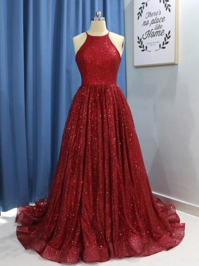 Sleeveless Sexy A-Line/Princess Sequined Prom Dresses (018218495)