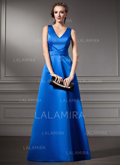 A-Line/Princess Satin Bridesmaid Dresses Ruffle V-neck Sleeveless Floor-Length (007001783)