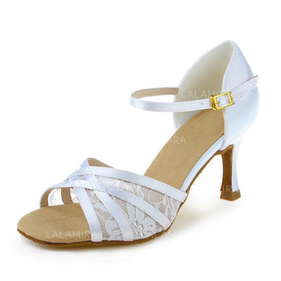 Women's Latin Heels Sandals Satin Dance Shoes (053180429)