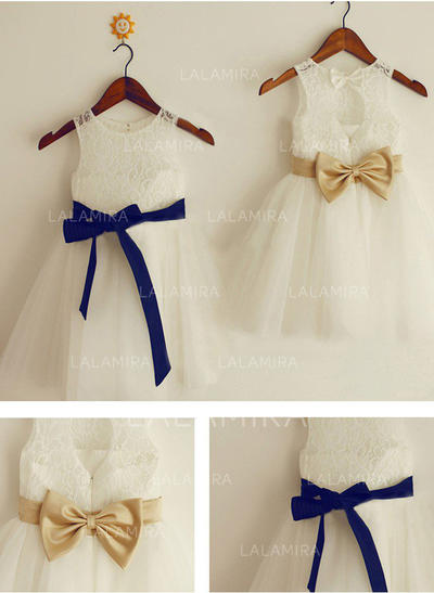 Scoop Neck A-Line/Princess Flower Girl Dresses Tulle/Lace Sash/Bow(s) Sleeveless Knee-length (010211864)