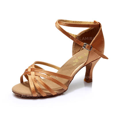 Women's Latin Heels Sandals Satin With Ankle Strap Dance Shoes (053178400)