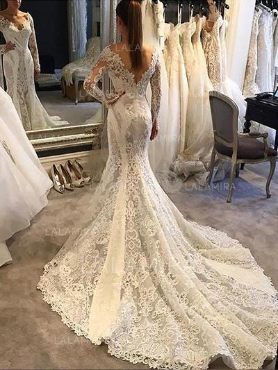 Chapel Train Long Sleeves Trumpet/Mermaid - Lace Wedding Dresses (002213444)