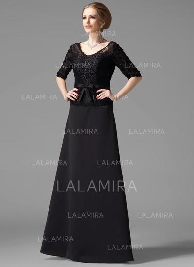 Corte A/Princesa Escote en V Satén Moderno Vestidos de madrina (008213081)