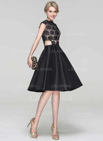 A-Line/Princess Scoop Neck Knee-Length Taffeta Cocktail Dress (016094363)