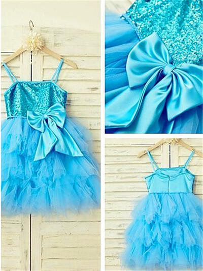 Square Neckline A-Line/Princess Flower Girl Dresses Tulle/Sequined Bow(s) Sleeveless Knee-length (010211987)