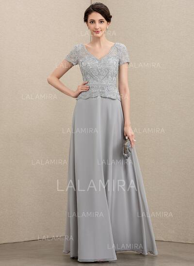 Corte A Decote V Longos Tecido de seda Renda Vestido de festa (017211391)
